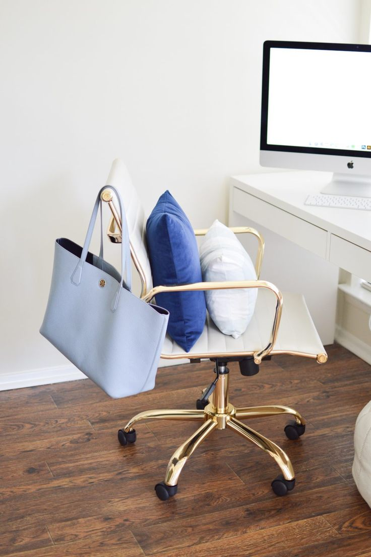 White and gold desk chair