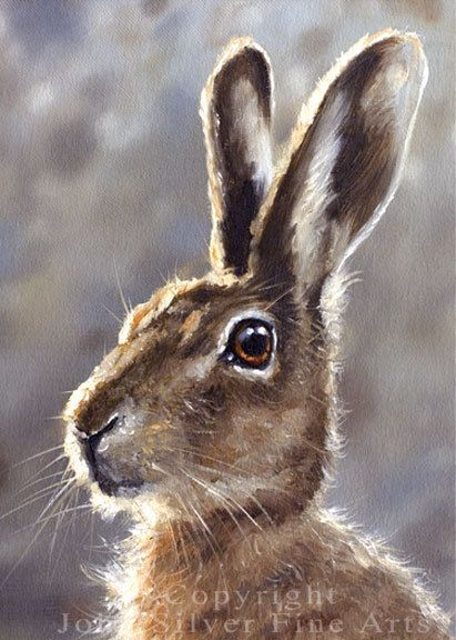 Aceo Print Wild Hare. From an Original Painting by JOHN SILVER. Personally signed. HA002AC (2.50 GBP) by JohnSilverFineArts