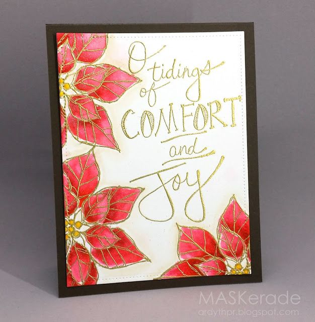 1276 best christmas card ideas images on pinterest christmas cards handmade christmas crd from maskerade gold embossed sentiment and lines for off the edge poinsettias m4hsunfo