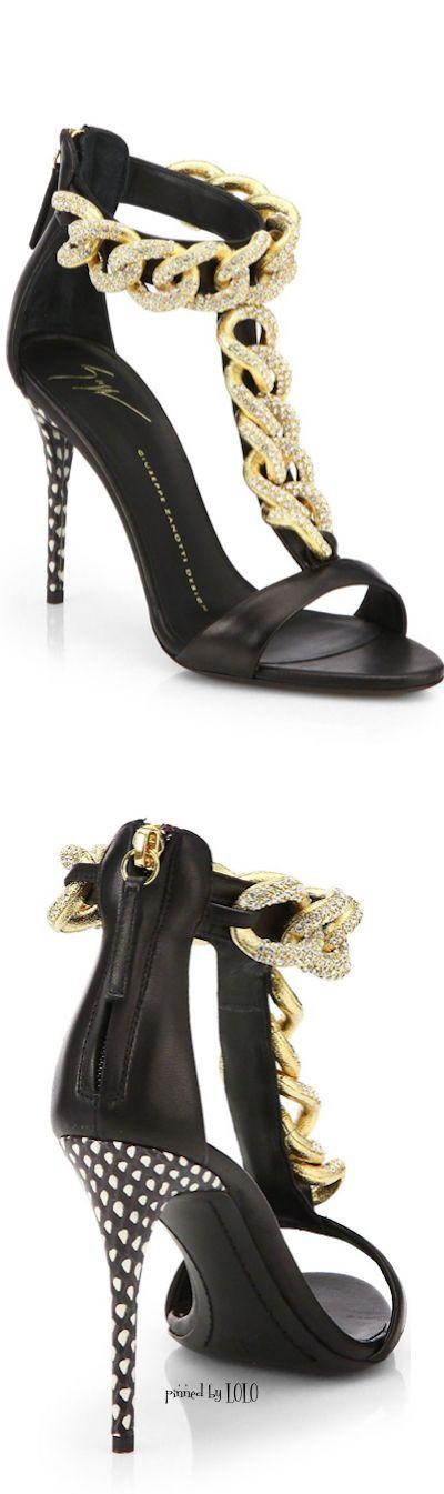 Giuseppe Zanotti Crystal-Chain Leather Sandals