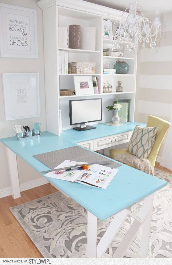 """Happiness is a room full of books & a closet full of shoes"" <--- love this quote also, I love the colors and the desk."
