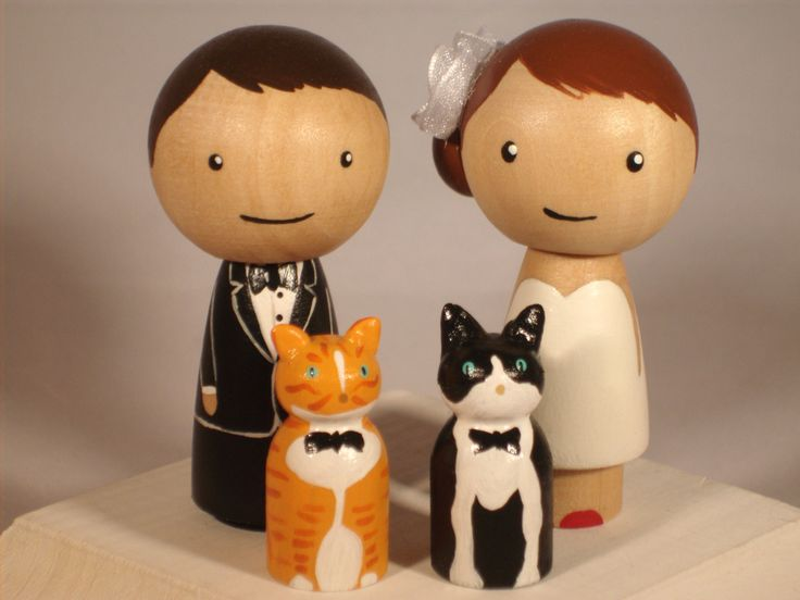 Pet Topper Wedding Topper with Two Pets Custom Kokeshi (to make a grey stripedy kitten and a tuxedo kitten)