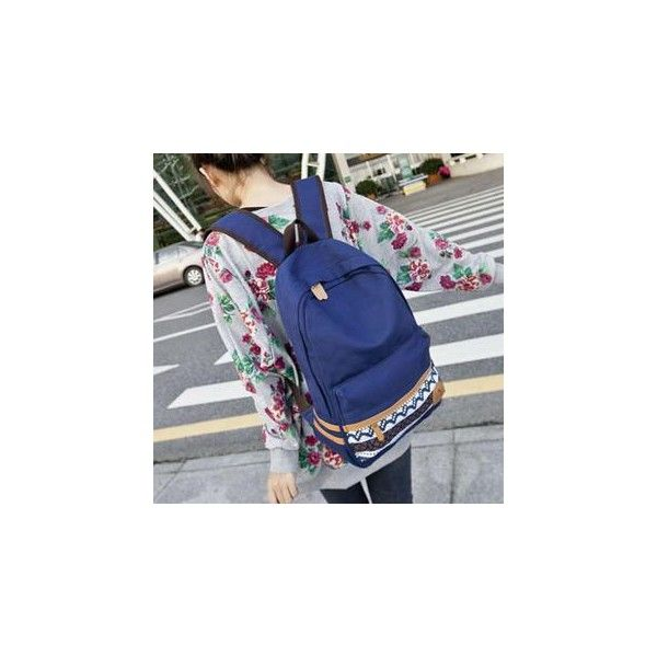Braided Canvas Backpack ($31) ❤ liked on Polyvore featuring bags, backpacks, accessories, canvas bag, rucksack bag, canvas backpack, blue canvas backpack and blue backpack