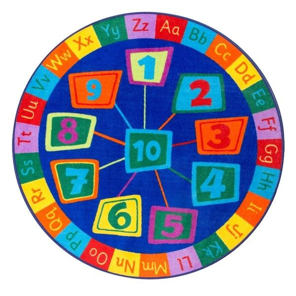 nuLOOM Blue Contemporary Number Alphabet Circles Kids Area