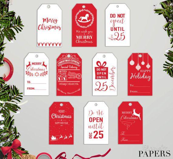 Printable CHRISTMAS GIFT TAGS. Holiday gift tags. by ElenasPapers