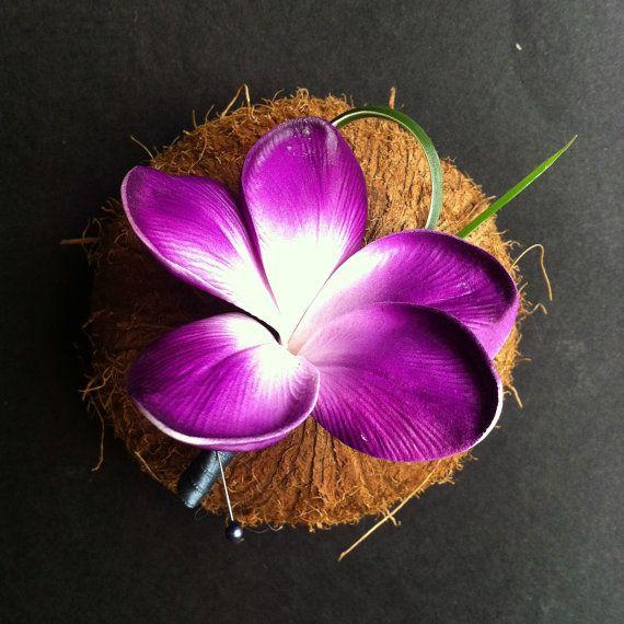 6 X plumeria/Frangipani boutonniere's by flowersbythevase on Etsy