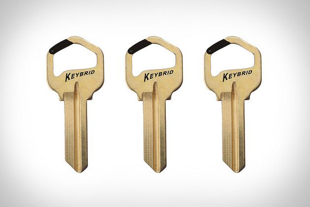KEYBRID CARABINER KEY  Need to hook your house key to something other than a keyring? Grab yourself a Keybrid Carabiner Key ($TBA). This unique item is completely functional, letting you clip it onto shoelaces, belt loops, and a whole host of other loop-like stuff, in addition to keychains and keyrings. Arrives blank, so plan on making a trip to the hardware store before use.