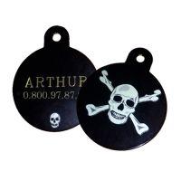Collier, laisse et harnais - Médaille personnalisée Skull
