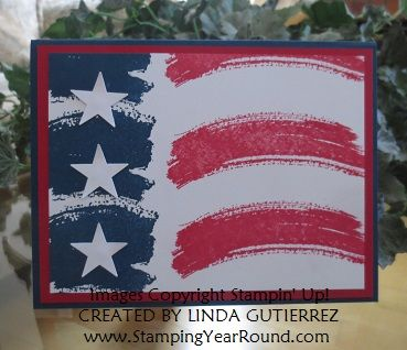 "By Linda Gutierrez. Stamp white cardstock panel with swooshes from Stampin' Up ""Work of Art"" - 3 of the squarish swooshes in navy at left and 3 red long swooshes at right. Add punched or die-cut white stars. Layer onto red panel then navy card base."