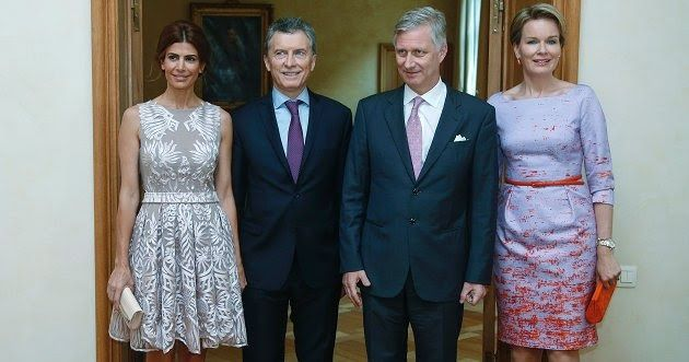 Queen Mathilde welcome President Mauricio Macri and Juliana Awada. Argentinian designer Laurencio Adot's spring/summer 2016 collection, and Valentino heels and a nude clutch bag