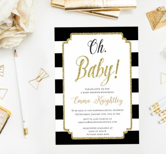 GLITTER GOLD OH BABY SHOWER INVITATION - Personalized 4x6 or 5x7 Printable JPG or PDF This stylish invitation is perfect for a polished baby