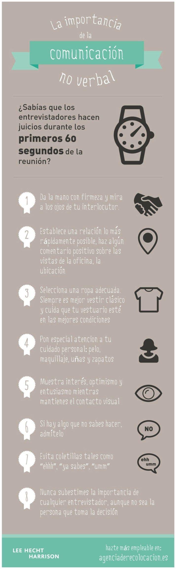 Comunicación no verbal en la entrevista de trabajo #infografia #infographic