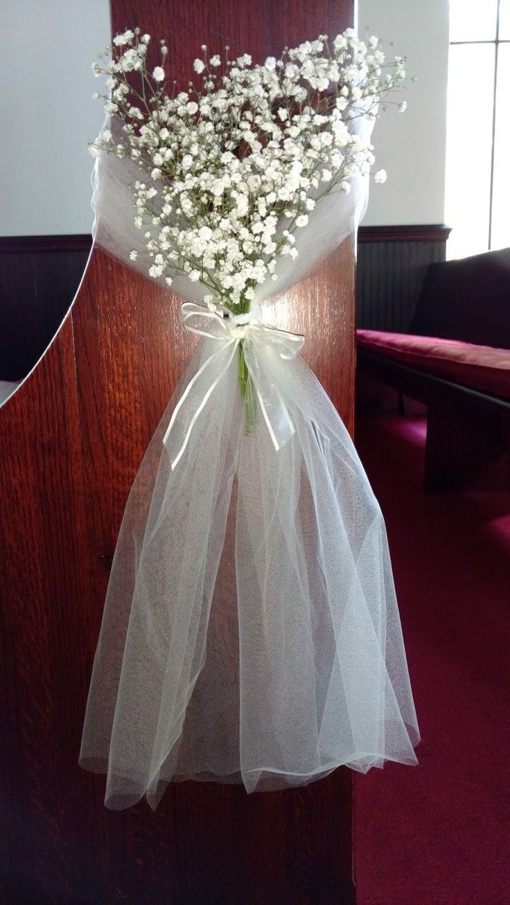 Wedding Pew Marker With Tulle And Baby S Breath Wedding Church