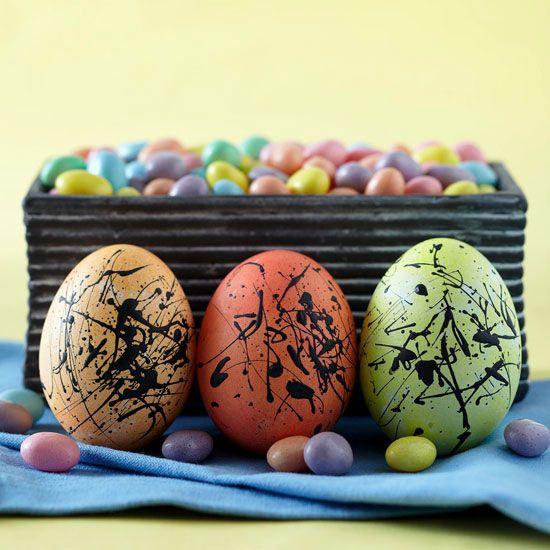 Paint-Splattered Easter Eggs