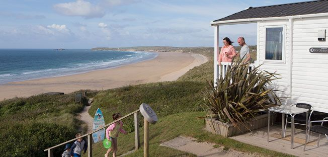 Haven Holidays destination in Cornwall: Riviere Sands Holiday Park. Come and enjoy these lovely clifftop views across St Ives Bay from Riviere Sands.