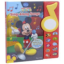 """You can play and sing alongside Mickey and pals with the Mickey Mouse Clubhouse Sing-Along Songs Book. Find a song you want to sing, press the appropriate button, and belt it out. You can even watch yourself sing with the musical mirror, which features light-up character icons. Genre: Musical books. Page count: 5. Published 2009 by Publications International. Dimensions: 12""""H x 11.5""""W."""