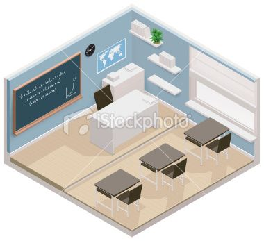 Isometric classroom icon Royalty Free Stock Vector Art Illustration
