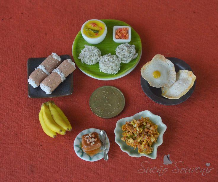 Sri Lankan handmade clay food miniatures ( Pittu, string hoppers, hoppers, kothu, wattalappam, bananas )