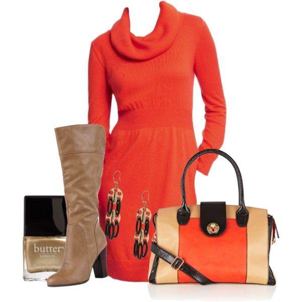 Love the orange sweater dress!