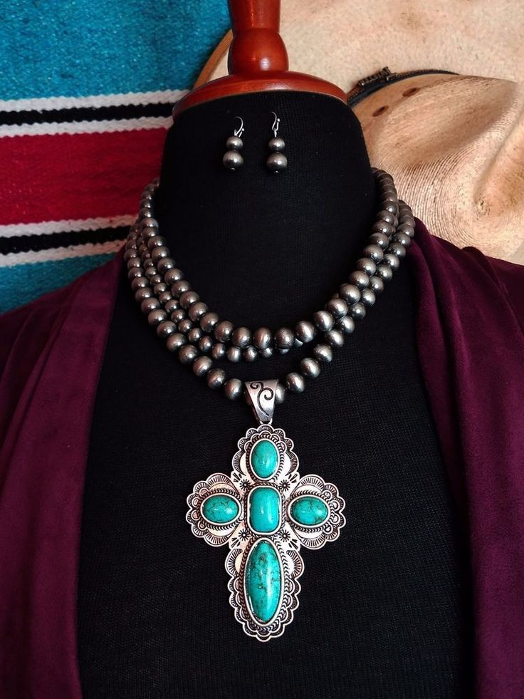 Cowgirl Bling Faux TURQUOISE CROSS PENDANT PEWTER SURGE PLATE Pearls NECKLACE #BAHARANCH