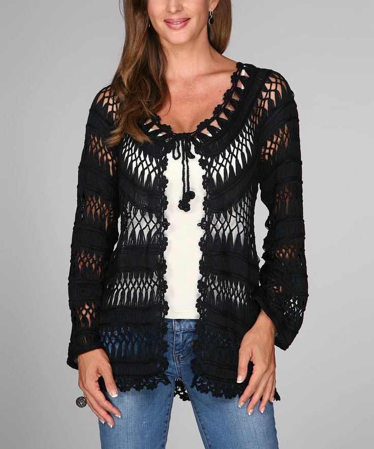 Look at this Black Crocheted Long-Sleeve Tie-Neck Cardigan on #zulily today!