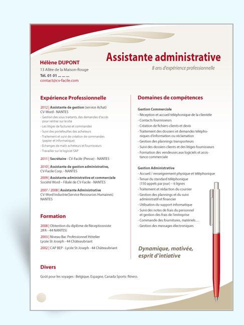 model cv assistant administratif et comptable