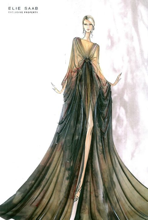 Croqui de moda Elie Saab                                                                                                                                                     Mais