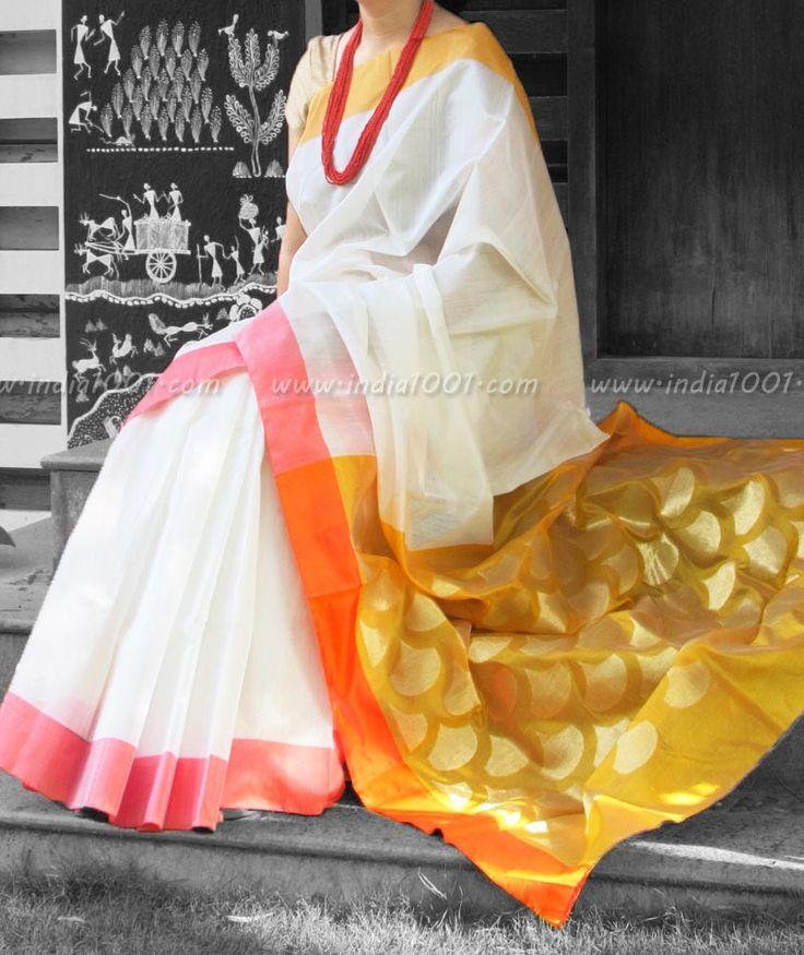 Designer Handwoven Woven Chanderi Silk Saree | India1001.com