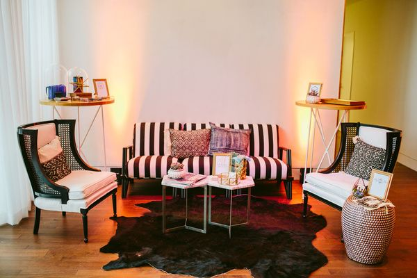 Striking Black and White Vignette at the Austin Way Magazine Event at South Congress Hotel in Austin, TX