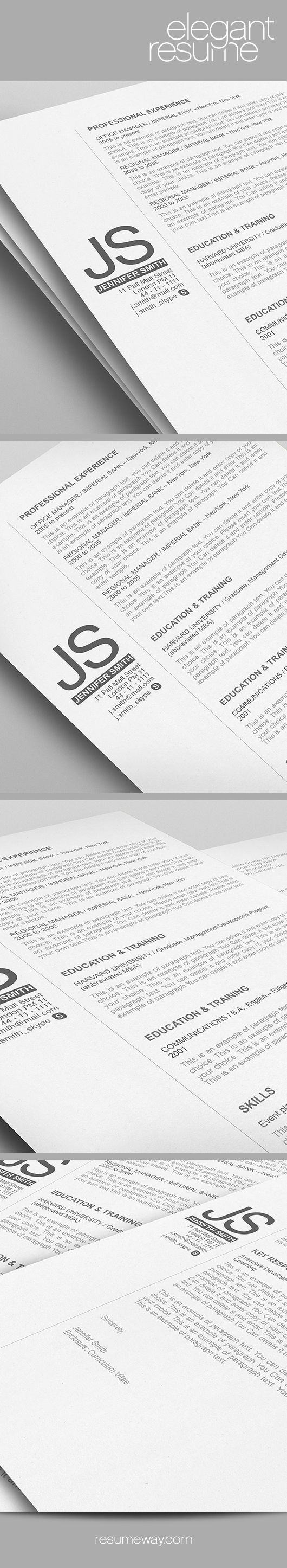 Elegant Resume Template   110540   Premium Line Of Resume Cover Letter  Templates. Easy Edit With MS Word, Apple Pages   Resume, Resumes   $7.95