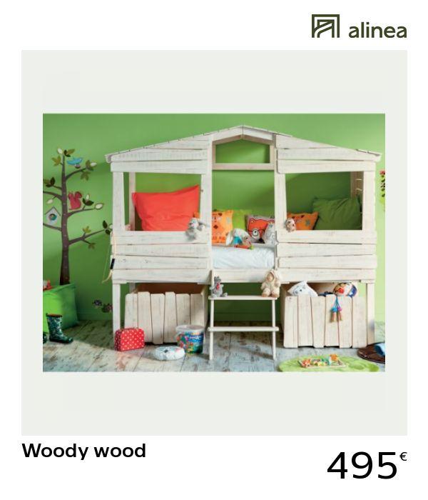 alinea : woody wood lit cabane 1 place blanc antique en ...