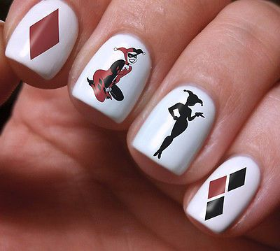 Nail Art Harley Quinn Water Stickers Decoration Joker