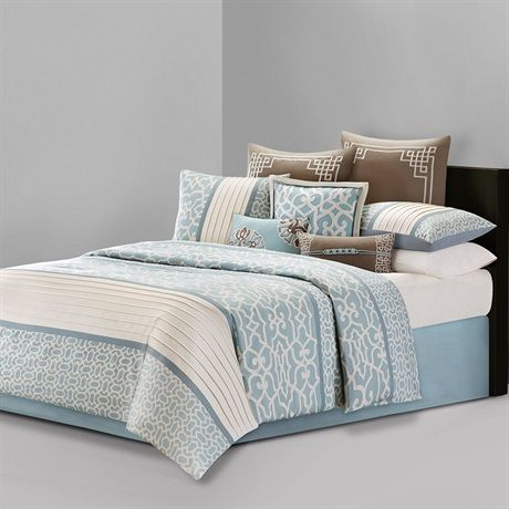 Fretwork by N Natori brings to life a beautiful geometric inspired pattern in subtle, soft colors with accents of aqua and tan. The comforter is printed on 230 thread count cotton sateen, bringing in just a touch of sheen to enhance the unique subtle colors. The comforter is oversized and overfilled for a luxurious look and feel.