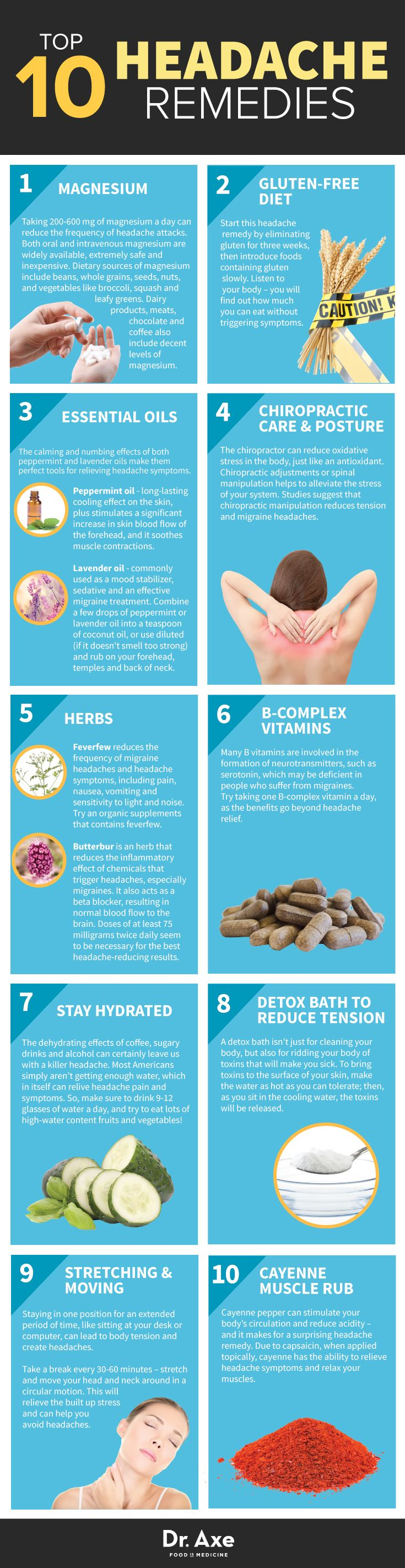 10 remedios para el dolor de cabeza. Headache Remedies http://www.draxe.com #health #holistic #natural