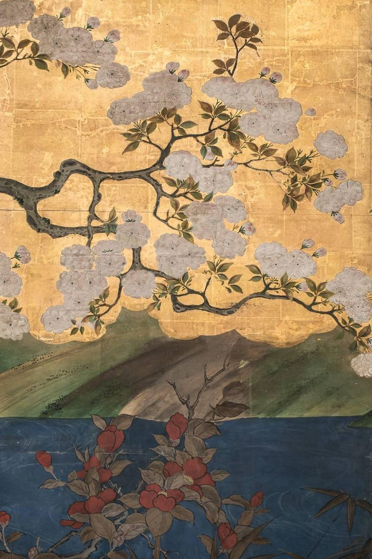 Antique japanese screens for sale - For Sale On Japanese Six Panel Screen Flowering Cherry Tree With Raised Blossoms Waterfront Landscape With Garden Stones On Edge Water Fowl