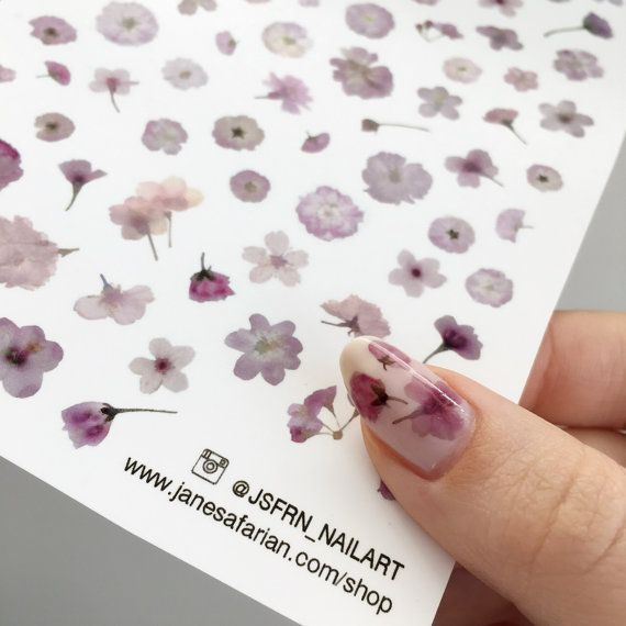 Pressed Cherry Blossom Sakura Flowers Design Water Slide Nail Decals/Nail Tattoos/Nail Stickers