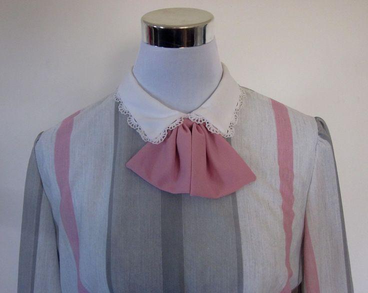 VINTAGE authentic vintage 70s/80s retro grey pink white stripe lace collar bow secretary dress USA made (equiv sz us 10, uk au nz 14, eu 42) by shopblackheart on Etsy