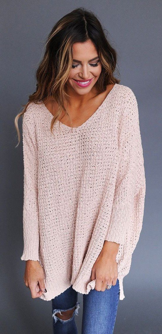 #spring #outfits  Pink Oversized Knit & Destroyed Skinny Jeans