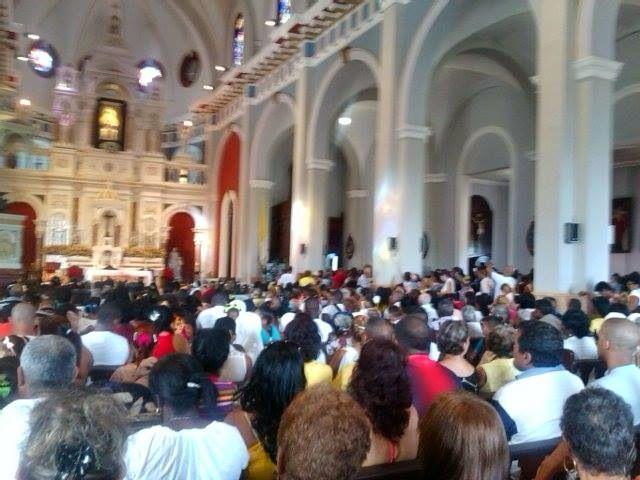 Inside the church where Thousands were arriving to honour La Virgen de la Caridad at El Cobre. Photos Miguel Noa