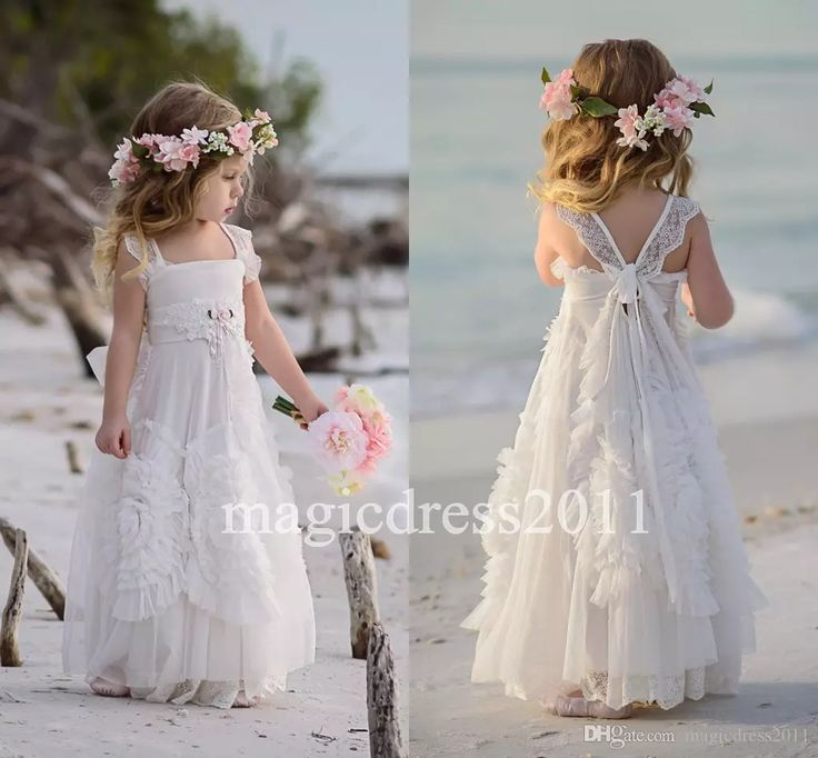 Gorgeous White Flower Girls Dresses For Wedding 2016 Square Lace Ruffles Kids Formal Wear Sleeveless