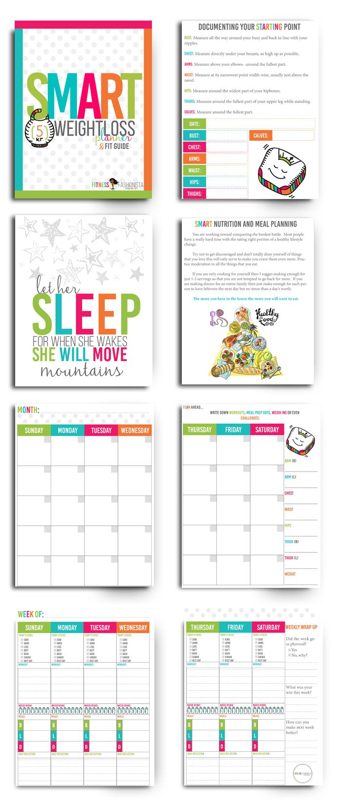 It's time to take control of your weight loss and fitness goals.  The SMART Weight Loss  Planner is here to help you do just that. Weight loss the SMART way is all about creating very specific yet realistic goals.   SMART is a goal planning strategy used in classrooms and I just knew it would be perfect for also reaching weight loss goals.  This download also includes the Fit Guide with helpful information and resources to help you create a healthier lifestyle.