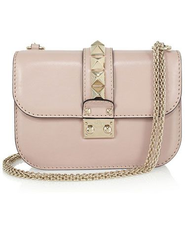 """Pink is the new black! This pale blush Valentino chain bag is ladylike and edgy and goes with everything."""