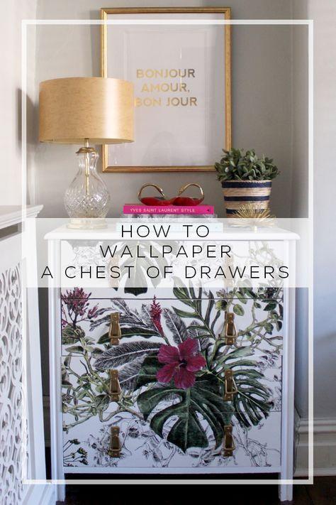 incredibly DIY wallpaper dresser