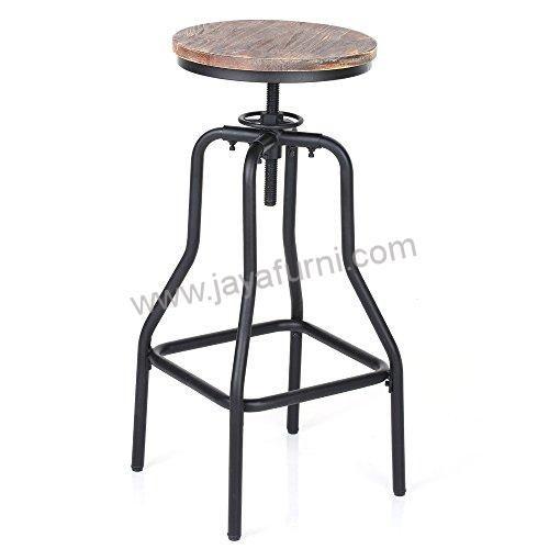 Kursi Bar Besi Putar Bundar Bahan baku : Full besi untuk rangka dengan kombinasi susukan kayu jati tebal 2,5cmUkuran :StandardDimendi : tinggi 75cmDiamete