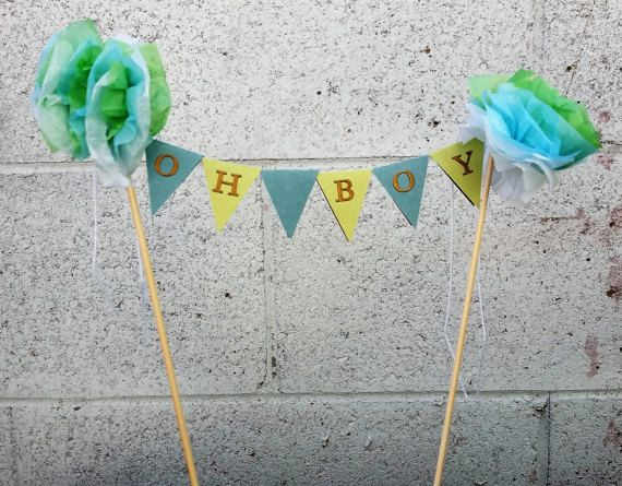 Customizable Teal Blue Green Bunting Cake Topperbirthday