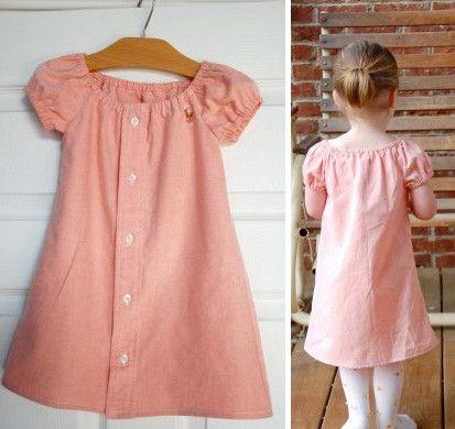 More upcycling. Pink men's shirt made into an adorable girl's dress.