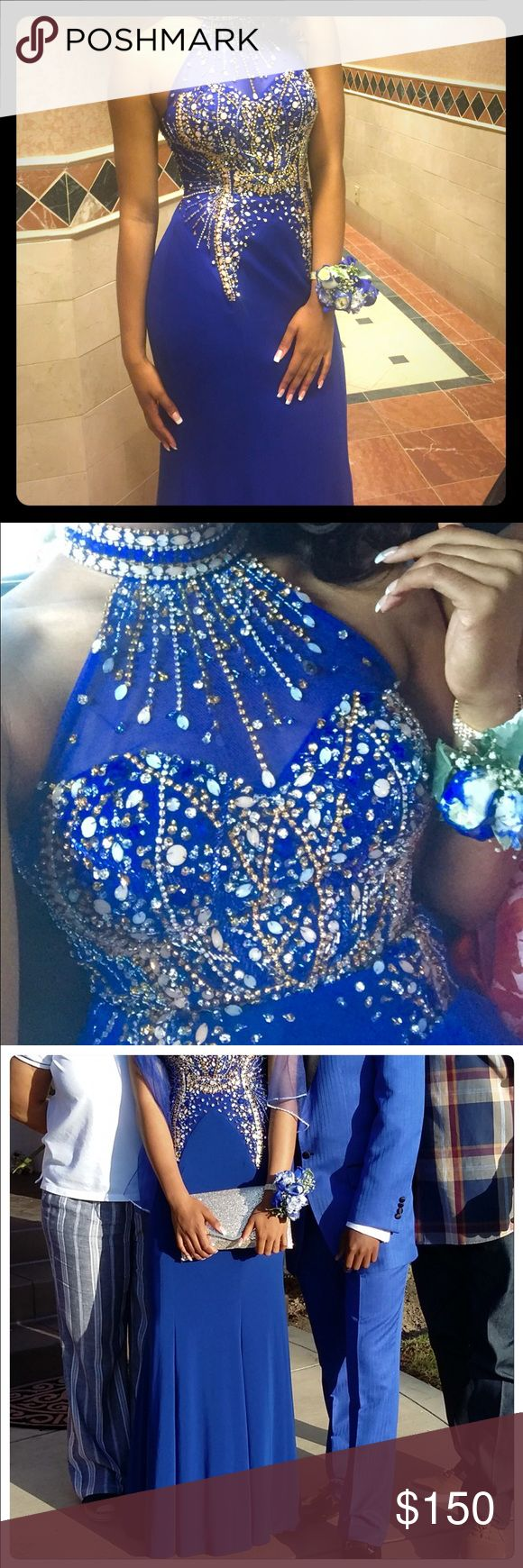 Beautiful Prom Dress Hand made beautiful prom dress, size 8. The 👗 was only worn one time. It is a royal blue color, fully-lined, custom made prom dress. Beads and rhinestones were sewn on by hand and none are missing. This by far was the most beautiful dress at prom. Dresses Prom