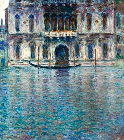 "Claude Monet (1840-1926) and his wife Alice travelled to Venice for the first time in the autumn of 1908 at the invitation of Mary Young Hunter, a wealthy American who had been introduced to the Monets by John Singer Sargent. They arrived on 1st October and spent two weeks as her guest at the Palazzo Barbaro, which belonged to a relation of Sargent. (sothebys.com) (""Contarini Palace, Venice"" by Claude Monet)"