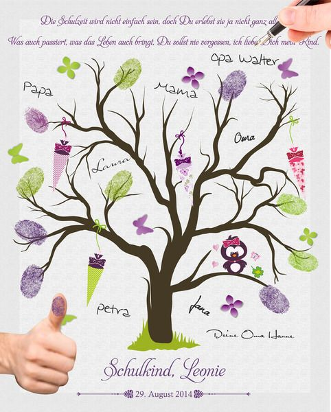 Fingerprint Tree Guestbook School Start Owl Purple