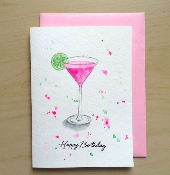 85 best hand painted watercolor cards images on pinterest items similar to hand painted cosmopolitan card watercolor birthday card original watercolor cards handmade card watercolor cocktail on etsy m4hsunfo